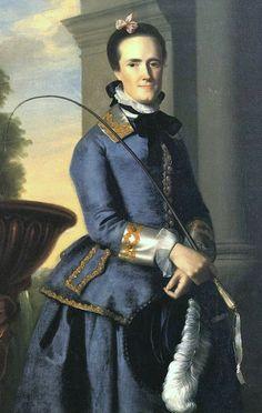 """Mrs. Epes Sargent (Catherine Osborne)"" by John Singleton Copley (1764) in riding habit"