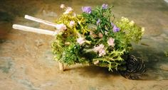 Fairy garden miniture wheelbarrow handcrafted with tiny bushes and flowers choice of 3 by SpryHandcrafted on Etsy