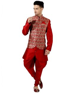 Outstanding art silk kurta in red color with red, golden color brocade jacket . Item code: SKEW534 http://www.bharatplaza.com/new-arrivals/kurta-pyjamas.html