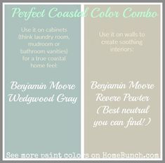 Moore Wedgwood Gray - Benjamin Moore Revere Pewter - Good color scheme for walls and cabinets. Room Colors, Wall Colors, House Colors, Color Walls, Best Color Schemes, Paint Color Schemes, Color Combinations, Interior Paint Colors, Paint Colors For Home
