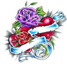 rose heart tattoo designs - Google Search