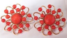 Vintage Estate Yellow Gold & Natural Red Coral Screw Back Earrings grams Coral Earrings, Atomic Age, Screw Back Earrings, Rakhi, Natural Red, Red Coral, How To Make Beads, Solid Gold, Jewelry Collection