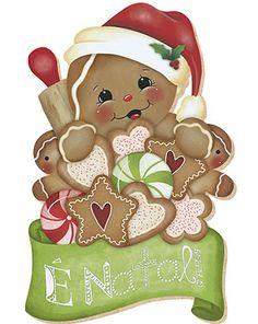 Litoarte Gingerbread Christmas Decor, Gingerbread Ornaments, Christmas Wood, Christmas Pictures, Christmas Decorations, Christmas Ornaments, Gingerbread Man, Illustration Noel, Illustrations