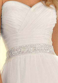 Sweetheart neckline, ruching around bust into large waist band, beaded belt detail