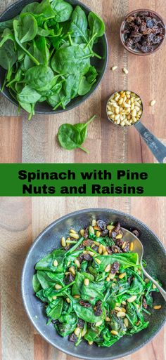 Spinach with Pine Nuts and Raisins is a super simple, super quick, and super delicious side. It only requires 5 ingredients and 5 minutes to make! Healthy vegan recipes | healthy | vegan | dinner | lunch | vegan dinner recipes | recipes | vegetarian | The Mostly Healthy