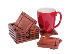 Christmas Thanksgiving Gifts Rustic Wooden Square Bar Coasters for Drinks Set of 6 with Holder Hand Carved Barware Dining Accessory ** To view further, visit now : Christmas decor