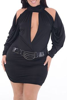 Plus Size Silky See Through Lace Black Dress Plus Size Clothing