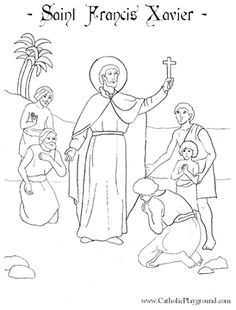 saint francis xavier coloring page for catholic children feast day is december 3rd