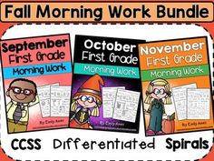This includes 3 of my morning work packets for September, October and November.  These are aligned to first grade common core  and provide daily practice in a fun and consistent way!  Graphics will grab students' attention!  Hint sheets will allow students to work independently.