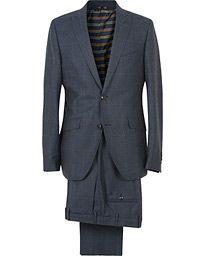 Etro New Mileto Check Peak Lapel Suit Navy