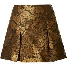 Ostwald Helgason Jacquard Pleated Mini Skirt (2.741.260 IDR) ❤ liked on Polyvore featuring skirts, mini skirts, bottoms, saias, gonne, khaki, pleated miniskirt, short skirts, jacquard skirt and brown mini skirt