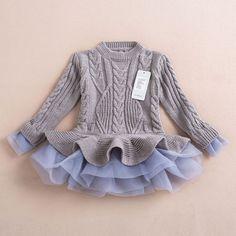 Knitted Chiffon Dress- Grey