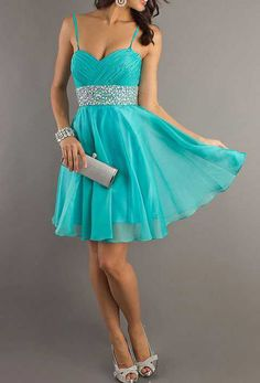 Chiffon blue prom dress party dress with spaghetti straps waist beads knee length gown
