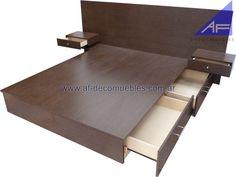 base cajonera para cama de 1.60m con respaldo y mesas de luz integradas