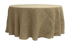 """Burlap 120"""" Round Tablecloth - Natural Tan ● As Low as $34.99 ● Available from www.cvlinens.com"""