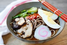 Spicy Sriracha Soba Noodle Soup - the easiest and most delicious soba noodles ever, with spicy Sriracha added to the broth and takes only 15 minutes | rasamalaysia.com