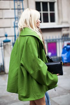 Leaf Green Swing Coat, The Perfect Touch Of Colour For Winter.