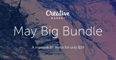 91 items, worth $1431, for only $39! You don't want to miss this.Everything a designer needs.Fonts,illustrations,graphics,themes and what not! At creative market only for May.