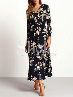 Navy Long Sleeve Floral Maxi Dress — 0.00 € ---------------------color: Navy size: L,M,S,XL