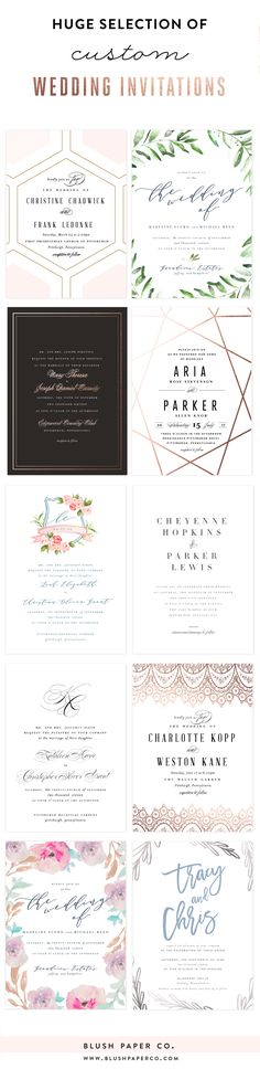 Huge selection of luxury wedding invitations.  Customize with your choice of colors and fonts, along with your choice of print method. Plus add matching envelope liners, address labels and coordinating color envelopes to complete the look. Wow your guests with beautiful invitations. one of a kind heirloom quality wedding invitations with Blush Paper Co.