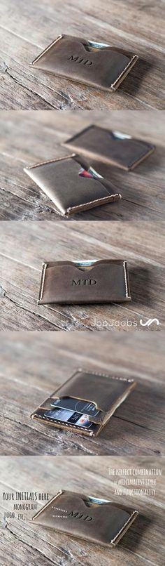 This handmade leather wallet is a very unique, fun design. Its acts a fully functional wallet, being able to hold a full set of credit cards, while also still being able to be used as a front pocket wallet. #wallet #JooJoobs