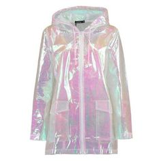 Boohoo Freya Mermaid Holographic Rain Mac ❤ liked on Polyvore featuring outerwear, coats, wrap coat, pink coat and holographic coat