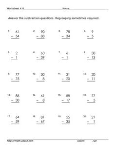 Worksheets for 2-Digit Subtraction With Regrouping: Worksheet # 6