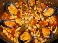 Garbanzos con mejillones Güveç yemekleri – Güveç yemekleri – Las recetas más prácticas y fáciles Seafood Recipes, Cooking Recipes, Healthy Recipes, Seafood Meals, Pork Hock, Pork Fillet, Seafood Salad, Spanish Kitchen, Brunch