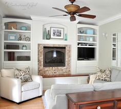 Check out the UGLY before painting pictures of these bookcases http://www.centsationalgirl.com/2012/03/i-painted-my-built-ins/