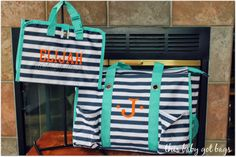 Super adorable baby shower gift from Thirty One!! Orange on Navy Wave, #thirtyone #timelessbeautybag for a portable changing station and the Thirty One zip top organizing utility tote for a diaper bag!