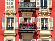 Flowers balcony Quai de Docs Nice Old Vieux Port Harbor French Riviera Cote D'Azur Mediterranean