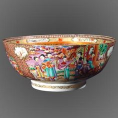 Famille Rose Mandarin Bowl, Chinese Export. Find this and other ceramics at CuratorsEye.com.