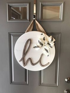 White Front Door Hanger, Door Hanging Decor, Sign For Front Door, Wood Door Decor, Round Wood Sign, Front Door Wreaths Year Round, New Home