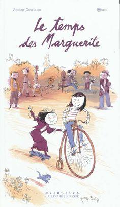 Le Temps des Marguerite - VINCENT CUVELLIER : Deux petites filles s'appellent Marguerite et ont 12 ans. L'une vit en 1910 et l'autre en 2010 et occupent chacune une partie de la page. Un jour où elles s'ennuient, elles décident de grimper au grenier et trouvent une robe ayant appartenu à une aïeule mystérieuse. En enfilant le vêtement, chacune se retrouve transportée dans l'époque de l'autre.