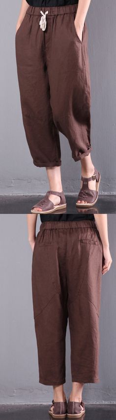 loose linen pants plus size elastic waist crop pants