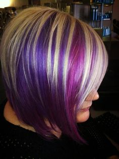 purple hair with platinum blonde highlights