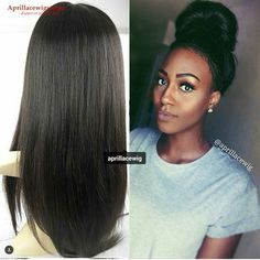 """#productdisplay #AprilLaceWigs #wigs #humanhairwigs Item No.: BW0069 #customershow by @mimoniana thank you love!! Great high bun!!! Hair type: Brazilian virgin Hair texture: straight Length: 18"""" Hair color: natural Cap construction: glueless full lace with silk top Density: 120% Price: 320$ / Handling time: 2 days  #hairfashion #wigfashion #wigslayed #wiginstall #africanamericanhair #fulllacewigs #beautifulhair #silktopwigs #humanhairwigs #hair #wig #lacewigs #lacefrontwigs #gluelesswig"""
