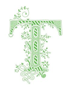 Hand drawn monogrammed print, 8x10, the Letter T, in the color green