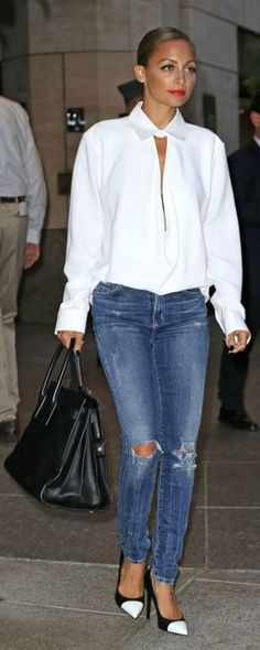 Celebrity Style | Nicole Richie | White silk Blouse | high heals |@monstylepin