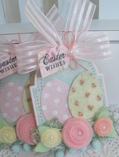 annettes paper bistro: Glittered Easter Egg tags. Beautiful pastel colors for Easter and spring!