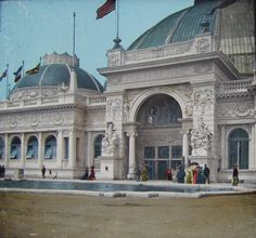 A rare tinted imgage of the Horticulture Building at the Columbian Exposition, 1893, Chicago