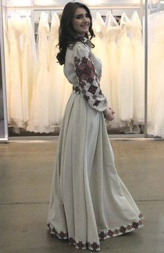 Ukraine, from Iryna Folk Fashion, Fashion Now, Ethnic Fashion, Modest Fashion, Hijab Fashion, Fashion Dresses, Hijab Stile, Ukrainian Dress, Hijab Dress