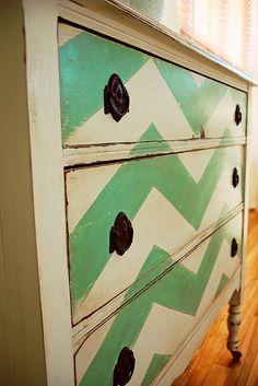 Chevron Painted Dresser by ampirlot, via Flickr