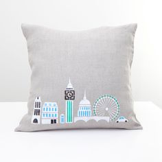 I need this!!!! London city Hand Printed pillow on natural grey linen by rasaoga