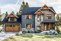 At less than square feet, this family-friendly, Craftsman Style, house plan offers practical room arrangements and an abundance of additional space. The front of the home radiates a sens Rustic Houses Exterior, Dream House Exterior, Exterior House Colors, Dream House Plans, House Ideas Exterior, Rustic Home Exteriors, House Exteriors, Dream Houses, Houses With Stone Exterior