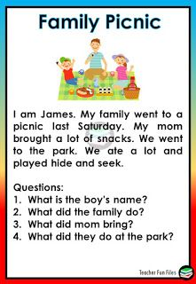 Teacher Fun Files: Reading with Comprehension Questions English Stories For Kids, Learning English For Kids, English Worksheets For Kids, English Lessons For Kids, Learn English Words, First Grade Reading Comprehension, Phonics Reading, Reading Comprehension Worksheets, Comprehension Questions