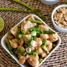 {recipe} Chicken with Coconut-Lime Peanut Sauce: a lighter, more elegant twist on the Super Bowl.