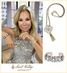 """Kathie Lee Gifford wearing Saint Vintage on """"Kathie Lee and Hoda"""" today! Kathie Lee Gifford, Hoda Kotb, Girl Celebrities, Aging Gracefully, Couture Collection, Handcrafted Jewelry, Jewelry Crafts, Swarovski Crystals, Vintage Jewelry"""
