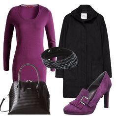In questo outfit il protagonista è il colore viola. Il vestito e le scarpe con tacco alto sono, infatti, di questo colore che io ho abbinato a cappotto e borsa a mano neri.