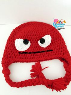 Mad Mad Beanie Crochet Pattern by grammabeans on Etsy #insideout #angry #beanie #crochetpattern #handmade #photoprop